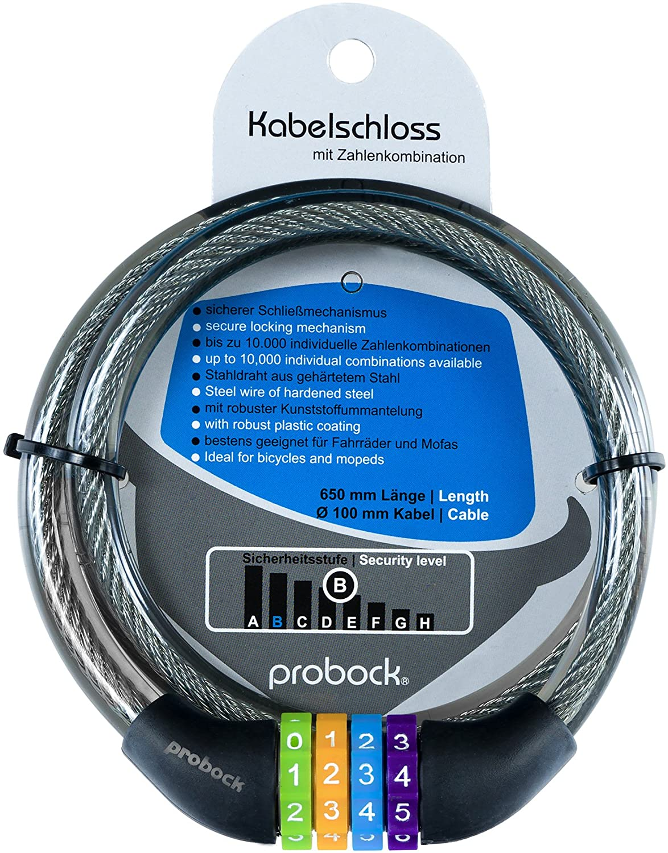 Edici/ón 2019 gris negro Medidas 10 x 650 mm probock Candado de cable para bicicleta infantil cerrojo de combinaci/ón num/érica