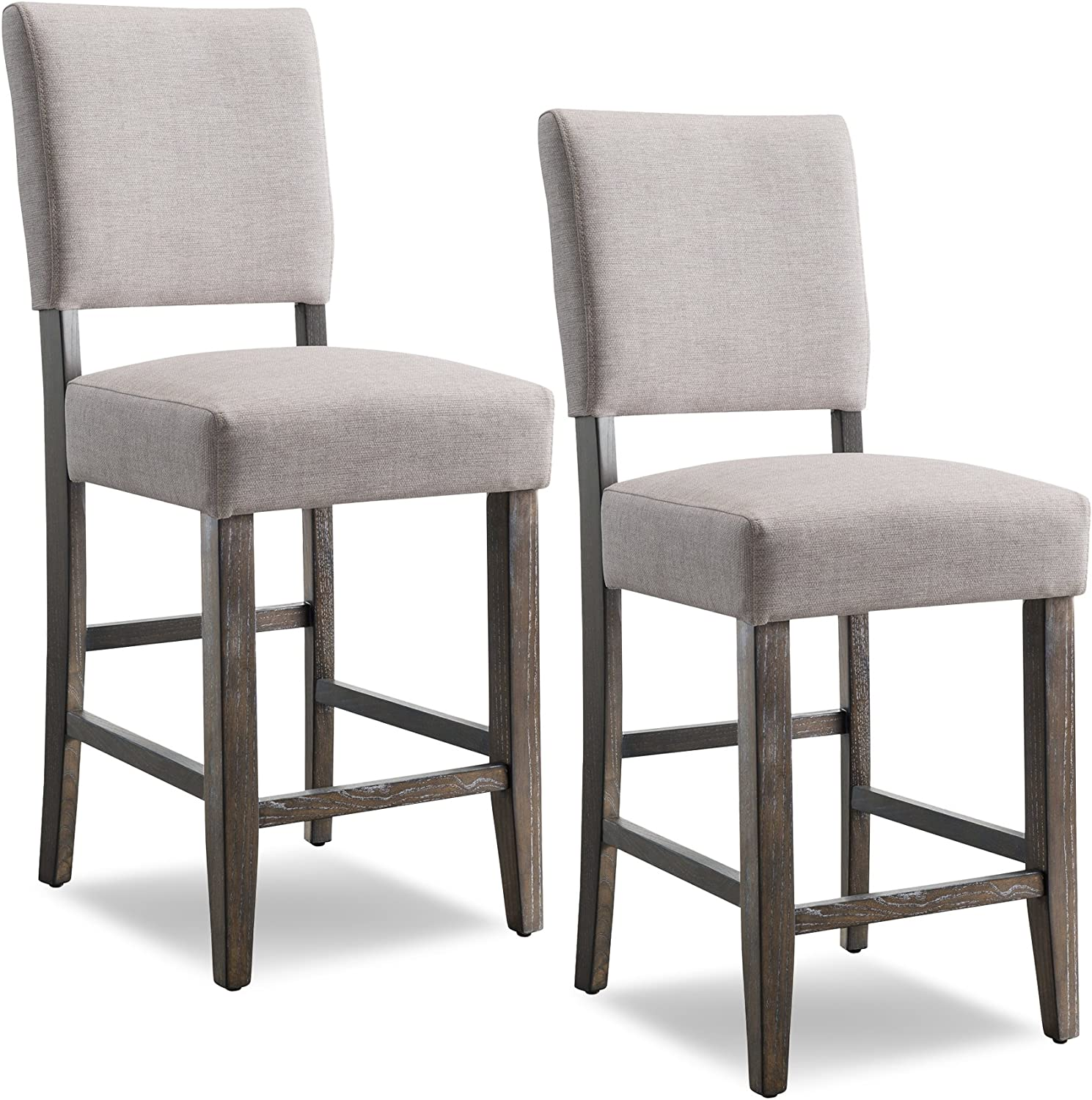 Set of 2 Fabric Bar Stool Pub Chair Bar Height Padded Seat Solid Wood Legs New