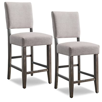 Leick Wood Upholstered Back Counter Height Barstool, Heather Grey Seat, Set  Of 2