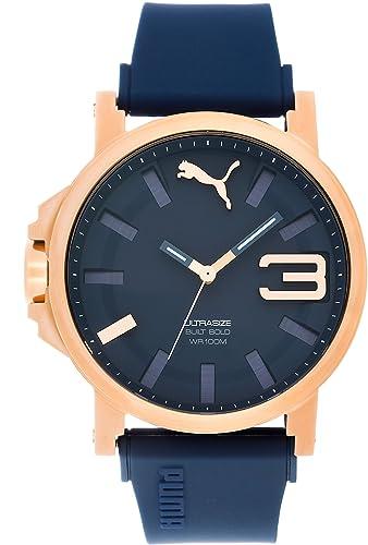 Puma Ultrasize 50 Bold - Reloj análogico de cuarzo con correa de silicona para hombre, color azul/oro: Amazon.es: Relojes