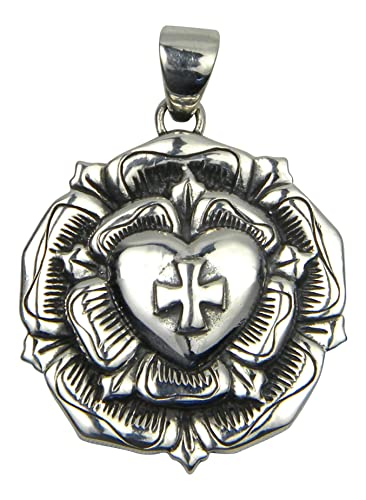 Amazon sterling silver rose cross heart charm pendant sterling silver rose cross heart charm pendant rosicrucian mozeypictures Image collections