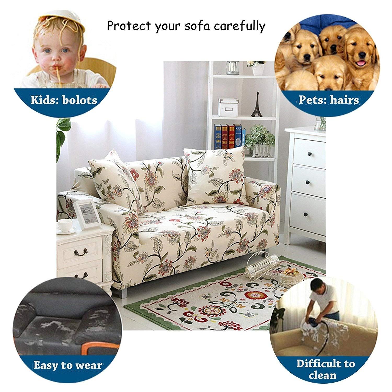 ENZER Funda de sofá Tejido Elástico Flor Pájaro Sofá Proteger Cubre sofá 1 2 3 Plazas (Vid de la flor, 4 Plazas)
