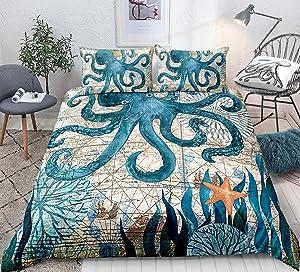 Octopus Duvet Cover Set Full Size 3D Octopus Printed Decorative Bedding Marine Mediterranean Style Quilt Cover Teal Ocean Animal Bedding Sets Ocean Park Theme Comforter Cover Kids Adult Teens