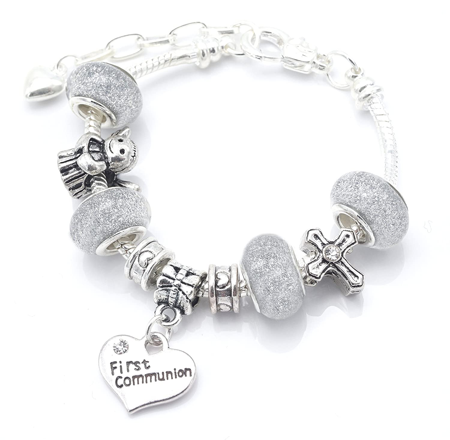 'Silver Sparkle' First Holy Communion Charm Bracelet For Girls With Communion Card Jewellery Hut BR0012