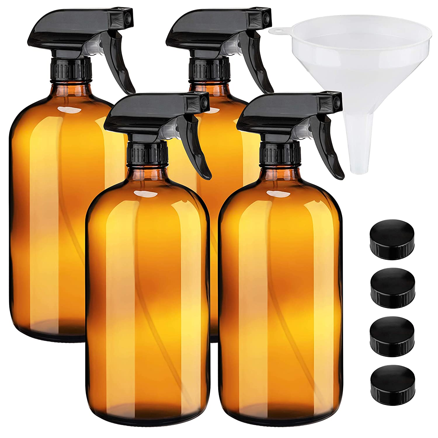 Extra Large 32oz Amber Glass Spray Bottles with Funnel - Refillable Trigger Sprayer Containers for Oils, Cleaning Products, Plant Misting, Cooking, Hair, and Beauty. Includes 4 Bottles and 1 Funnel.