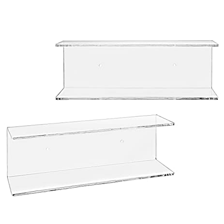 2 tier clear acrylic wall mounted floating display shelves set of 2