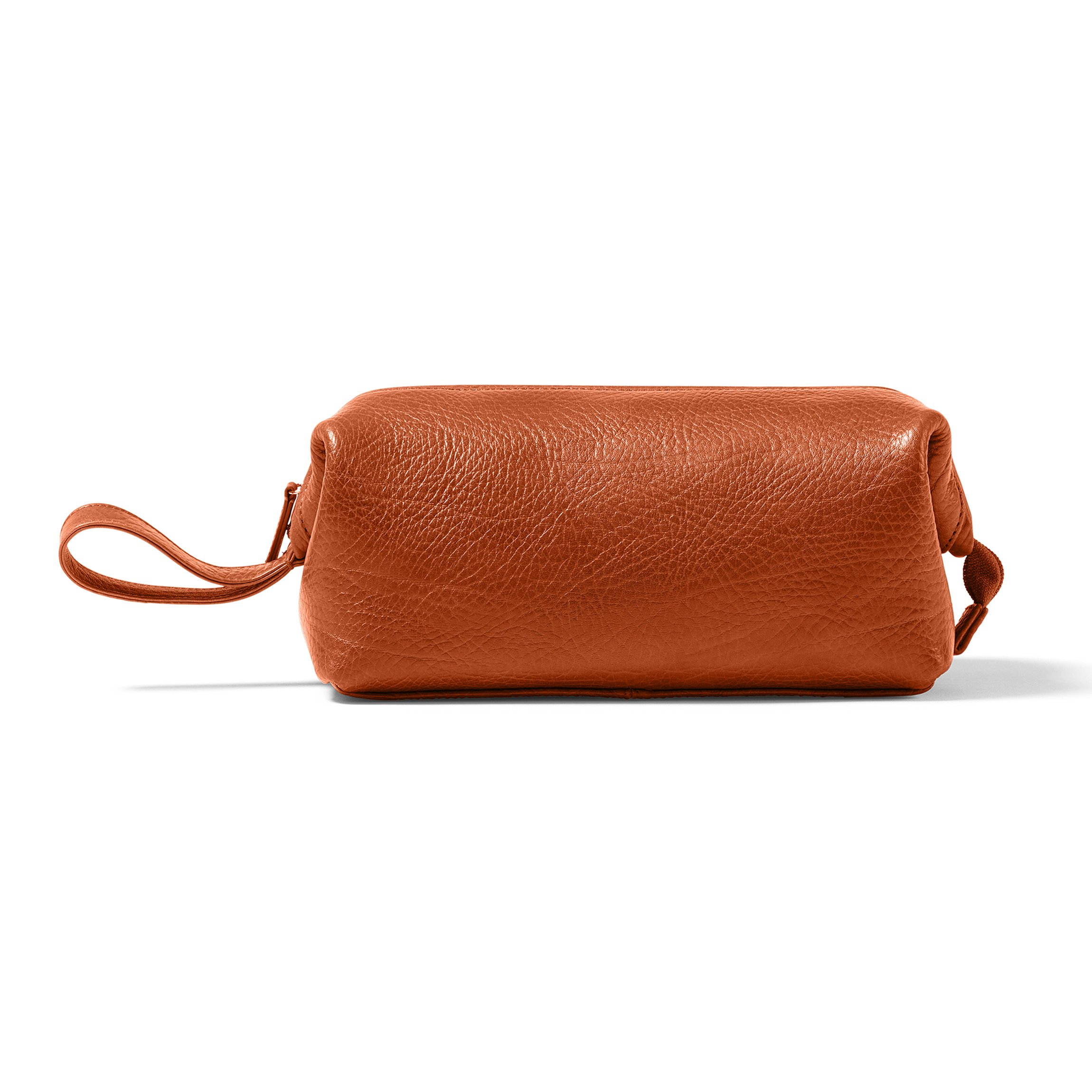 Leatherology Framed Toiletry Bag - Italian Leather - Whiskey (brown)