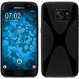 PhoneNatic Case für Samsung Galaxy S7 Hülle Silikon schwarz X-Style Cover Galaxy S7 Tasche + 2 Schutzfolien
