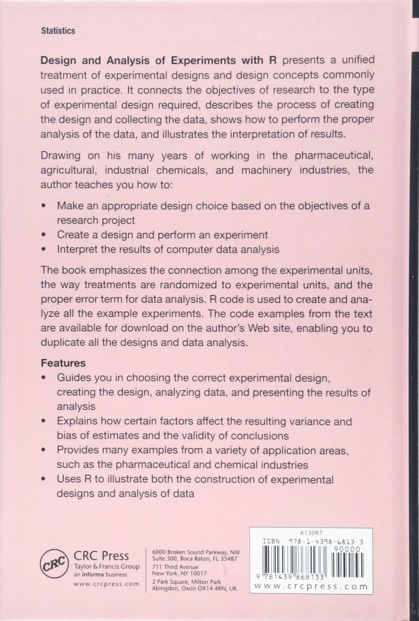 Design and Analysis of Experiments with R (Chapman & Hall/CRC Texts