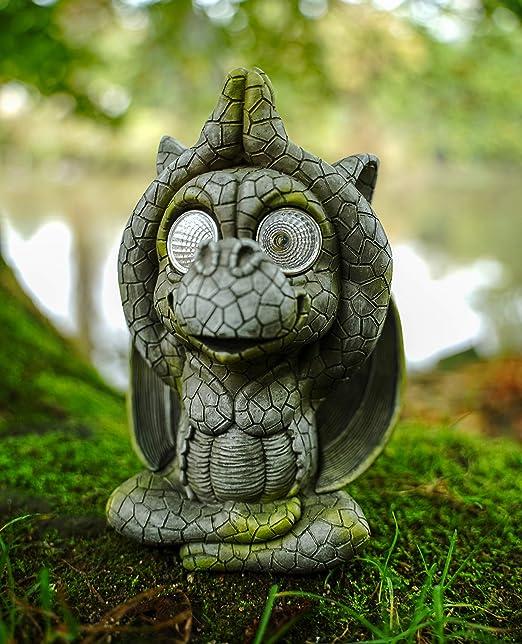 UDO Schmidt GmbH & Co. Figura de dragón para jardín con luz led Solar de 19 cm, diseño de dragón: Amazon.es: Jardín