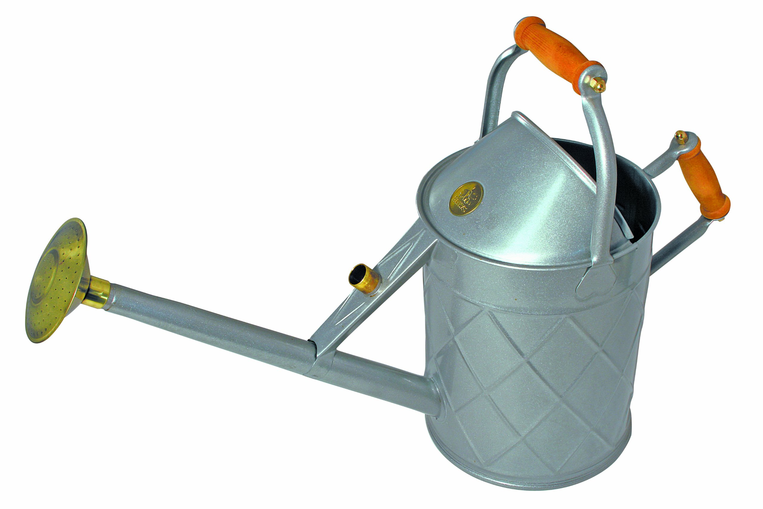 Haws V305T Heritage Galvanized Watering Can with Wood Handles, 2.3-Gallon/8.8-Liter, Titanium