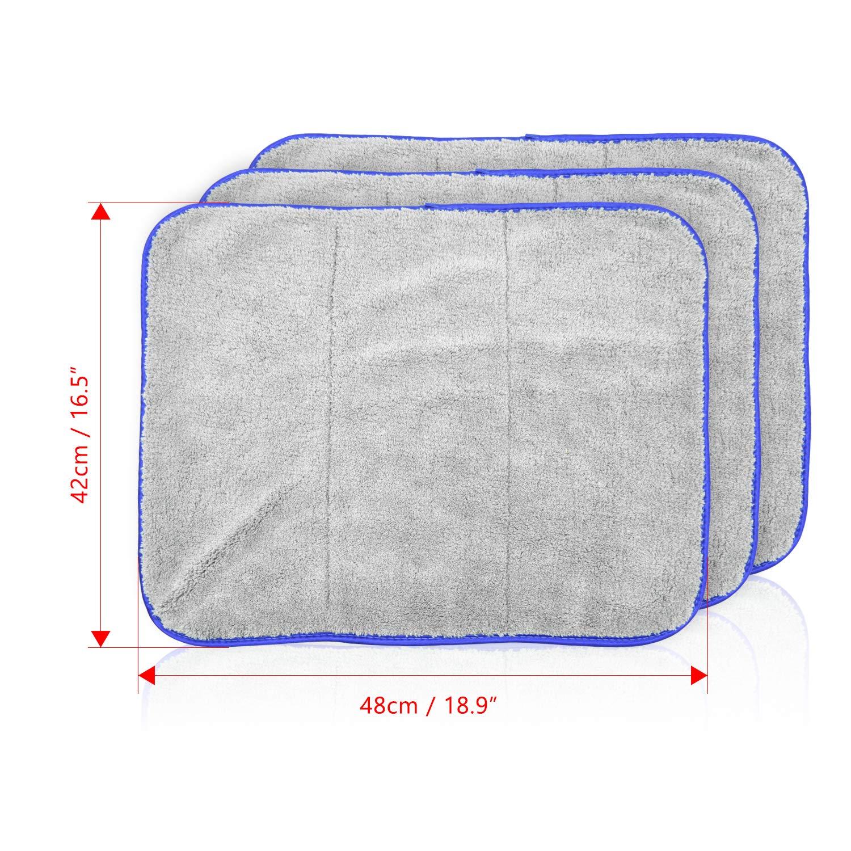 3 Pezzi Asciugamani 42 x 48cm 1200GSM Wandefol Auto Panni Pulizia Microfibra Panno per Pulizia Automatica Ultra Spessa Super Assorbente Panni per lucidare