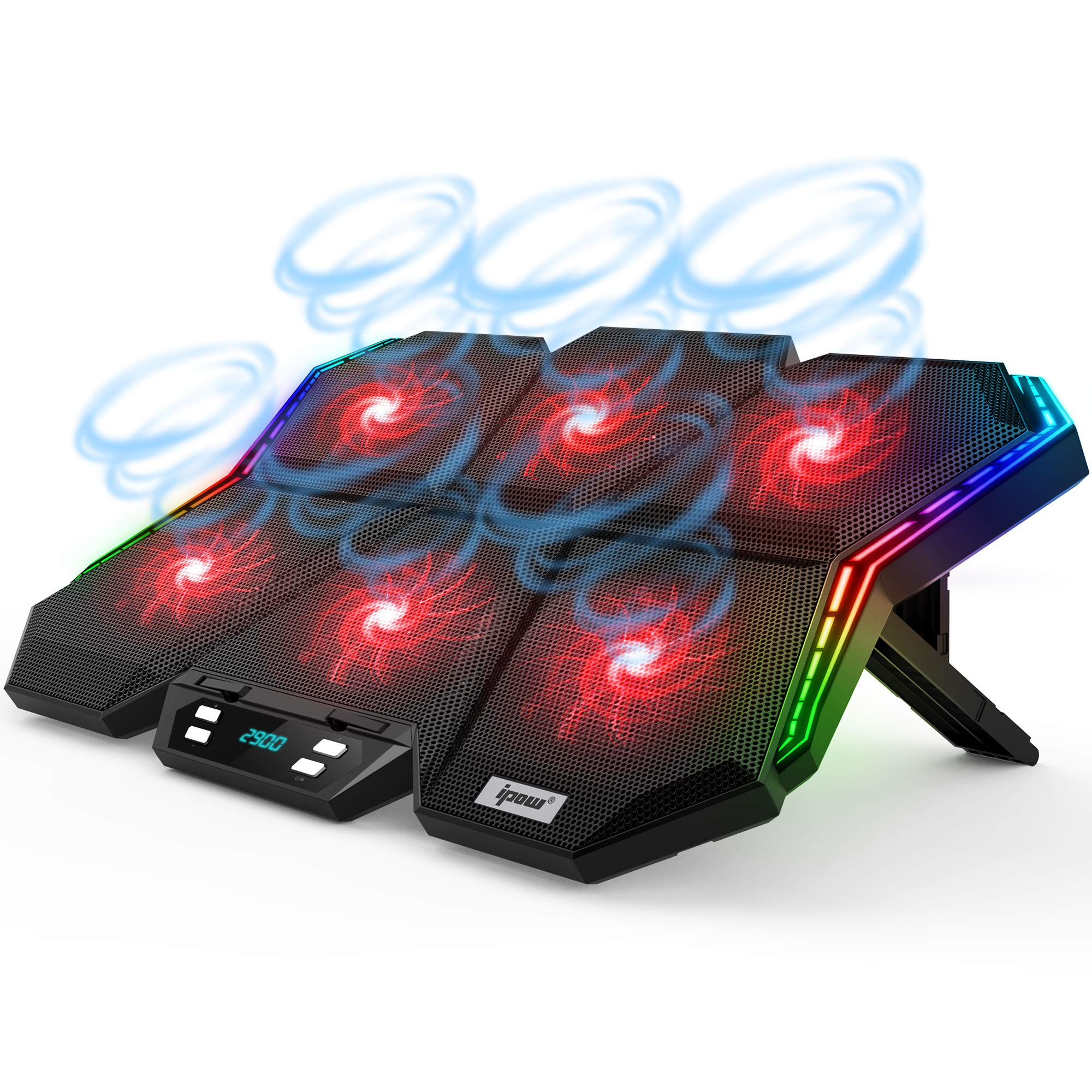 IPOW 12-Mode RGB Laptop Cooling Pad LED Screen Gaming Laptop Cooler with 6 High-Speed Adjustable Fans, 7 Heights Stand, 2 USB Ports, Compatible up to 17'' Laptop & PS4
