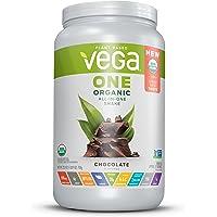 Vega One Organic All-in-One Shake Chocolate (17 servings, 1.6 lb) - Plant Based Vegan Protein Powder, Non Dairy, Gluten Free, Non GMO