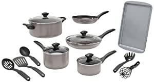 Farberware Dishwasher Safe Nonstick 15-Piece Cookware Set, Champagne