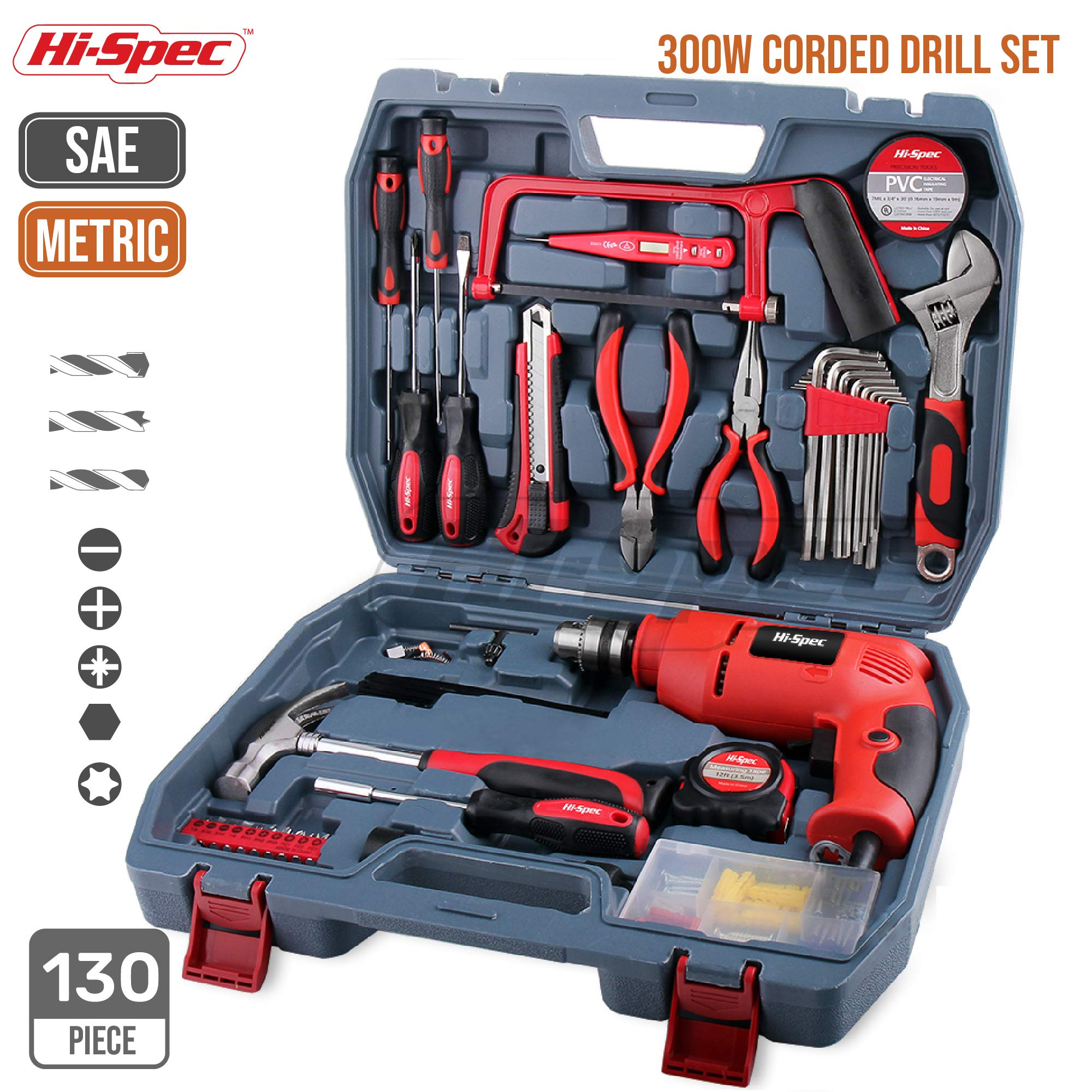 Hi-Spec 130pc 110V 300W Hammer Power Drill Tool Set Kit with Hacksaw, Pliers, Claw-Hammer, Wrench, Box Cutter, Hex Keys, Screwdrivers, Socket and Driver Bits Set, Voltage Tester inc. 60 accessories