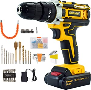 SOLUDE Cordless Drill Driver,16.8V Max 100-Piece Power Drill Set,3/8 Inch Keyless Chuck,Variable Speed,25+1 Torque Setting