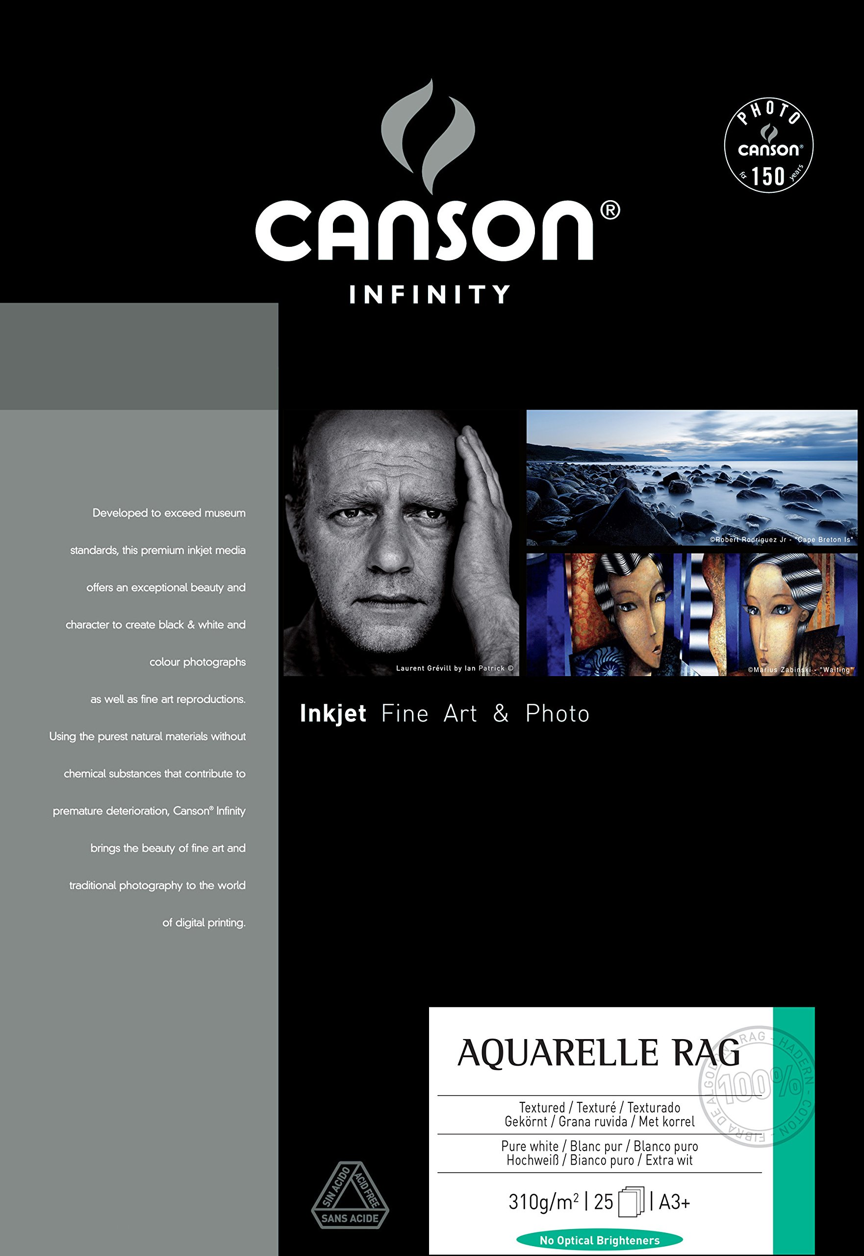 Legion Canson Infinity Digital Paper, Aquarelle Rag 310S, 13 X 19 inches, 25 Sheets A3 (F11-AQR310131925) by Canson