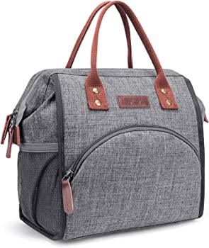 Lokass Lunch Bag Insulated Lunch Box Wide-Open Lunch Tote Bag