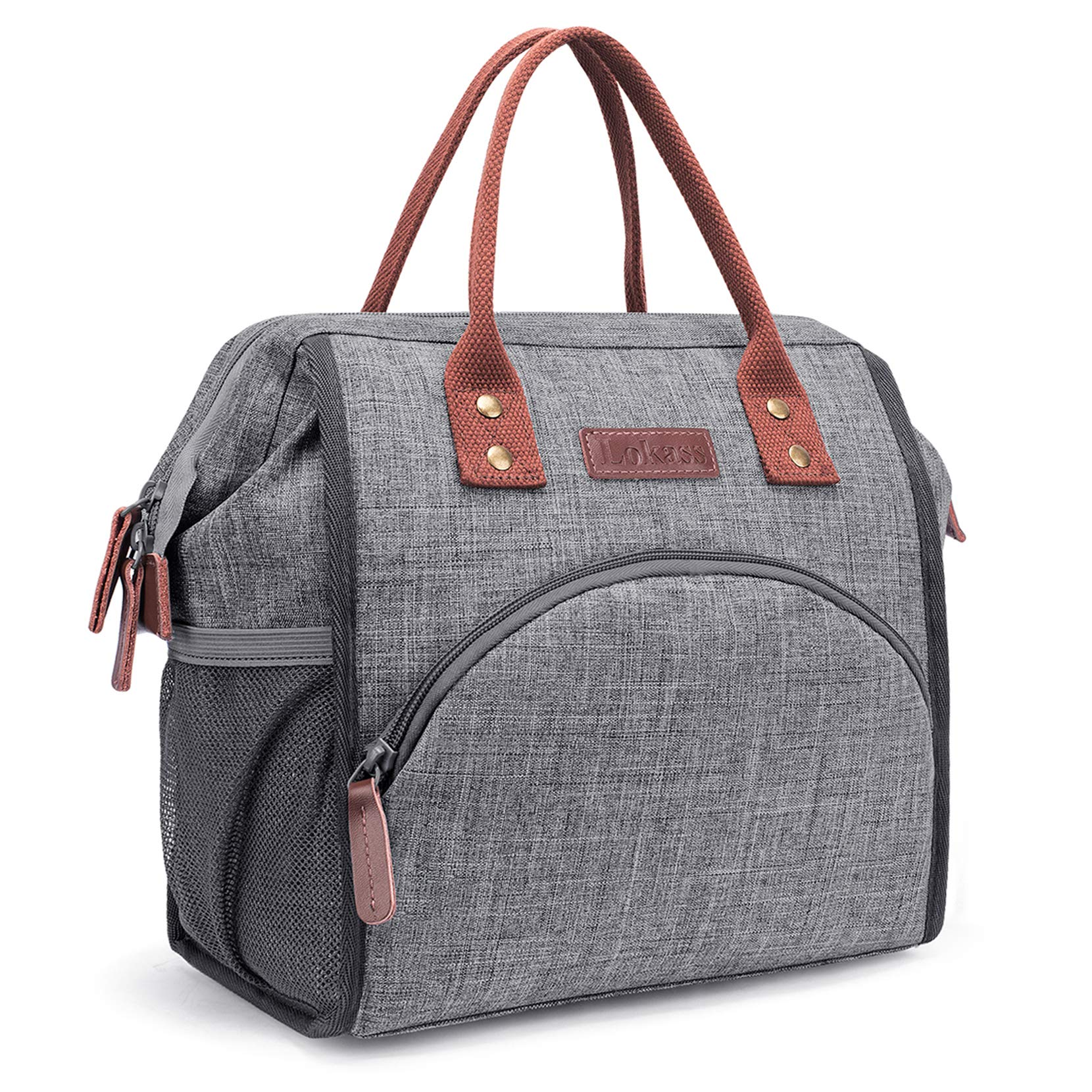LOKASS Lunch Bag Insulated Lunch Box Wide-Open Lunch Tote Bag Large Drinks Holder Durable Nylon Thermal Snacks Organizer for Women Men Adults College Work Picnic Hiking Beach Fishing,Grey by LOKASS