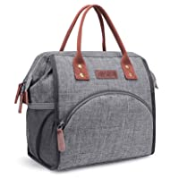 LOKASS Lunch Bag Insulated Lunch Box Wide-Open Lunch Tote Bag Large Drinks Holder...