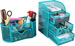 PAG Office Supplies Desktop Organizers and Accessories Storage Caddy with Drawer Mesh Pencil Holder Set for Women Girls, Blue