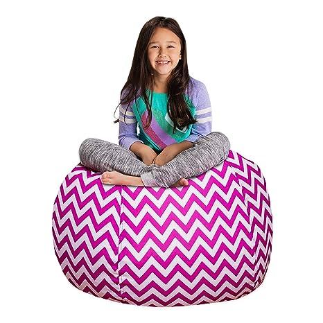 Remarkable Posh Stuffable Kids Stuffed Animal Storage Bean Bag Chair Cover Childrens Toy Organizer Large 38 Pattern Chevron Purple And White Inzonedesignstudio Interior Chair Design Inzonedesignstudiocom