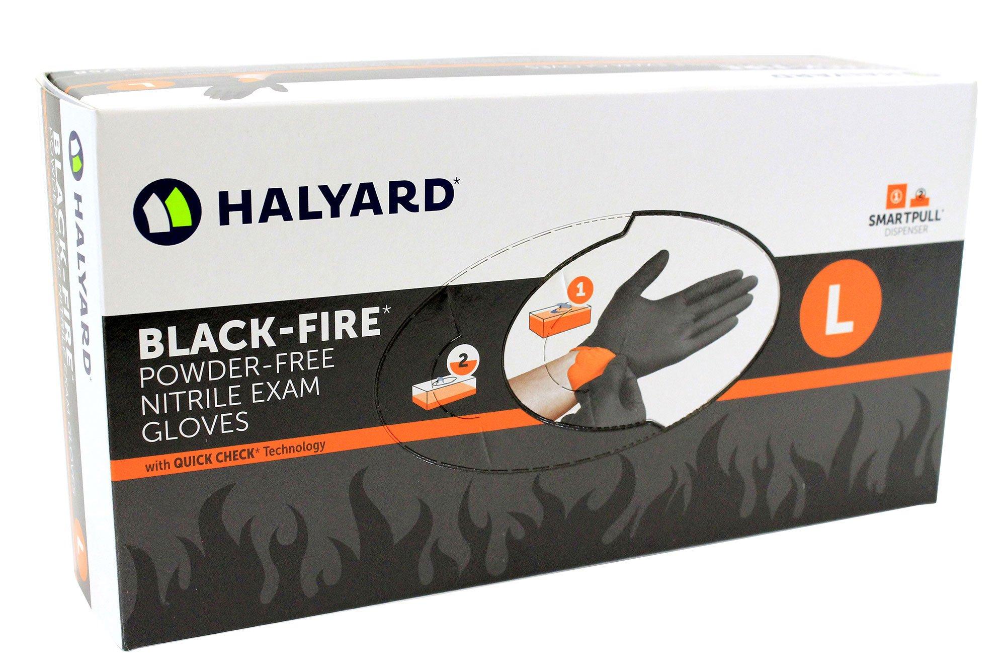 Halyard Health Black Fire Nitrile Exam Glove Large - 150 Per Box