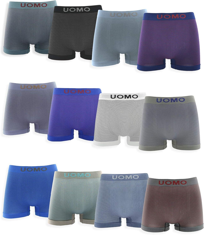 Channo Pack de 12 Calzoncillos Boxer Lycra sin Costuras con Rayas horizontales