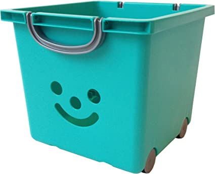 Irias 102215 0 Smiley Ensemble De Boite De Rangement Pour Enfants Avec Roulettes Et Sangle 25 Litres Vert Bleu Gris Amazon Fr Bebes Puericulture