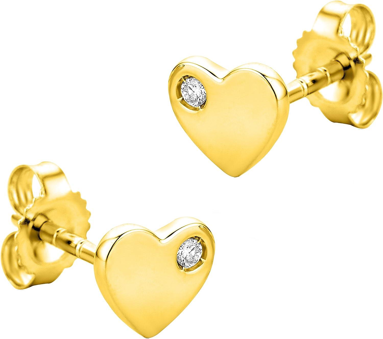 Orovi Pendientes Señora Corazón presión en Oro Amarillo con Diamantes Talla Brillante Oro 9 Kt / 375