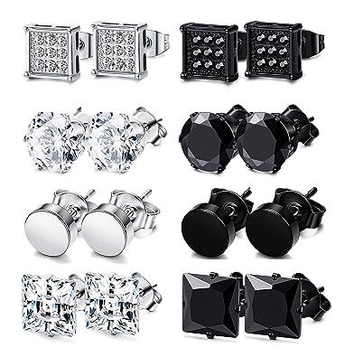 Amazon.com: Adramata - 8 pares de pendientes de acero ...