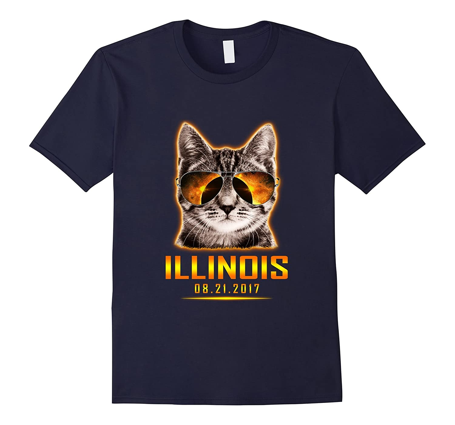 Cat Is Watching Illinois Total Solar Eclipse 2017 T-shirt-BN