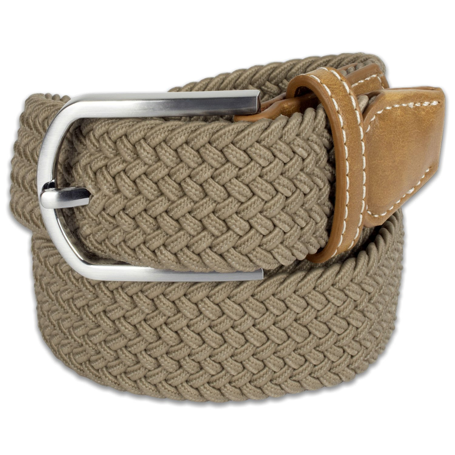 E-Living Store Men's 32mm Woven Expandable Braided Stretch Belts, (Available in Multiple Colors & Sizes), Khaki, X-Large (Waist Size 42-44'')