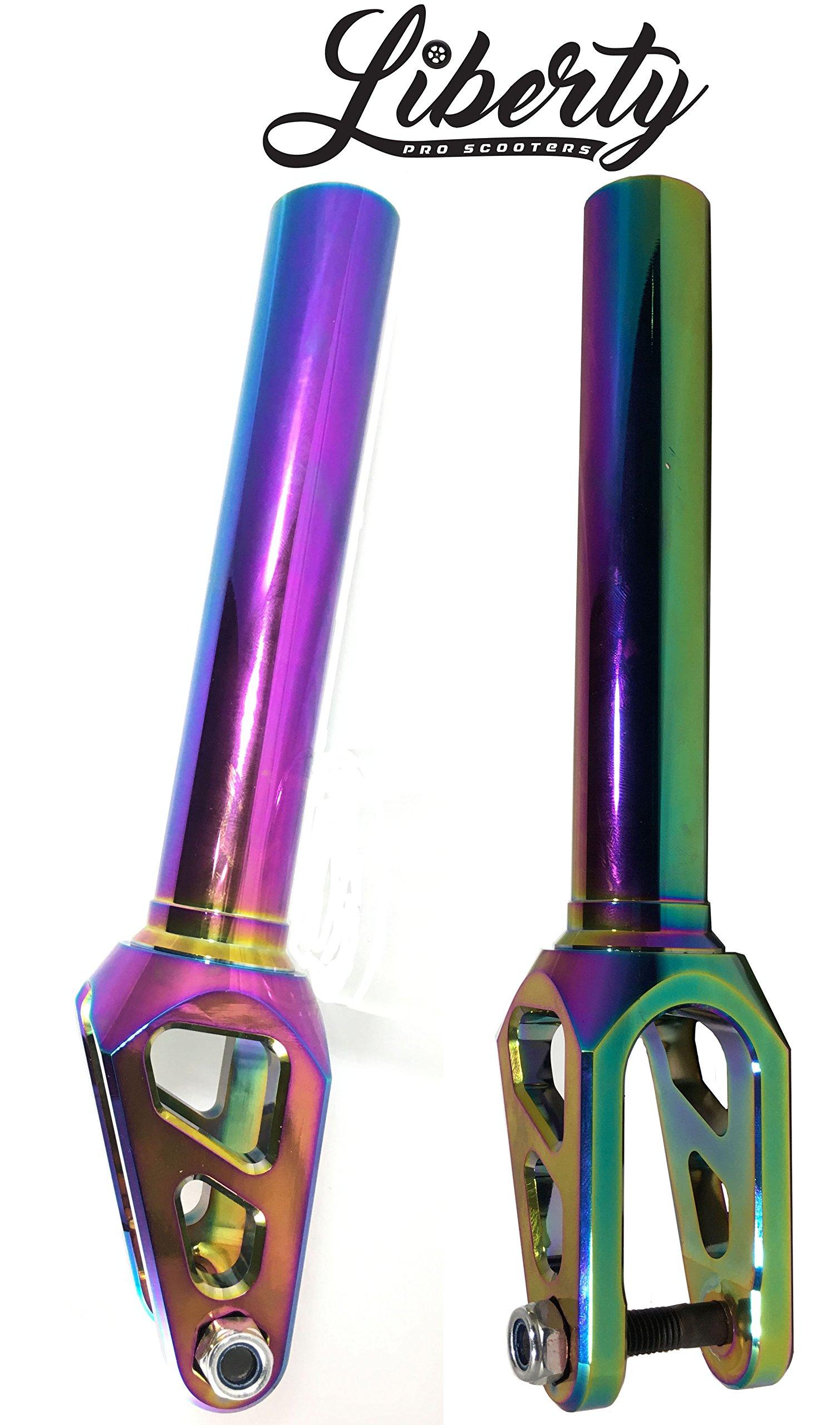 Mach 1 Liberty Threadless Aluminum Scooter Fork (Neo Chrome) Oil Slick
