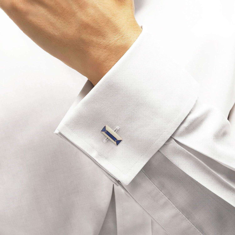 Art Deco Enamelled Anniversary Suit Tie Clip Cuff Links Personalized Handmade Gold Wedding Groom Cufflink Antique Brass Ivory Blue Cufflinks for Men