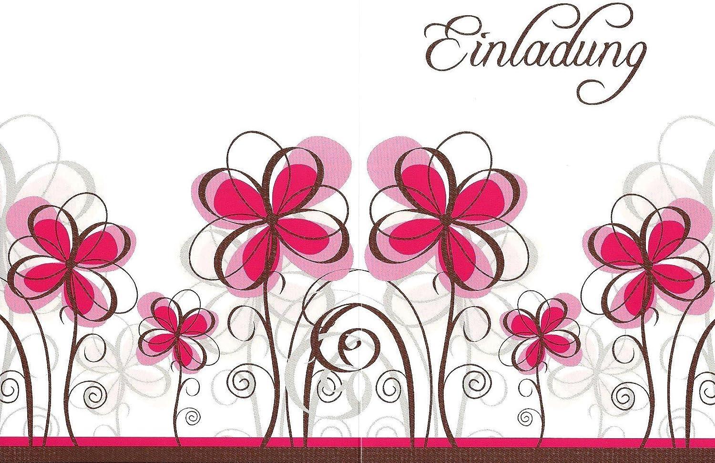 Einladungskarten mit Innentext Motiv Rosa Blumen 10 Klappkarten DIN A6 mit wei/ßen Umschl/ägen im Set Einladung f/ür jeden Anlass Hochzeit Geburtstag Party Taufe Kommunion Konfirmation Jugendweihe K15