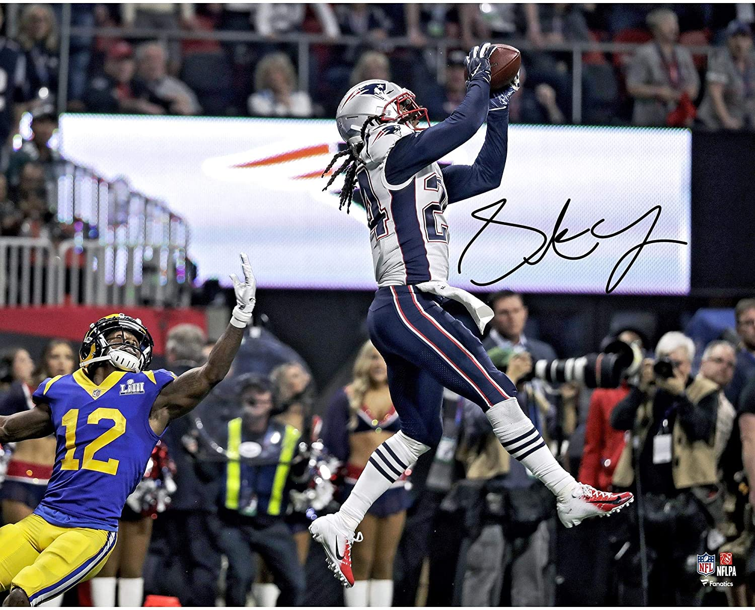 Stephon Gilmore New England Patriots Autographed 16' x 20' Super Bowl LIII Champions Game-Winning Interception Photograph - Fanatics Authentic Certified