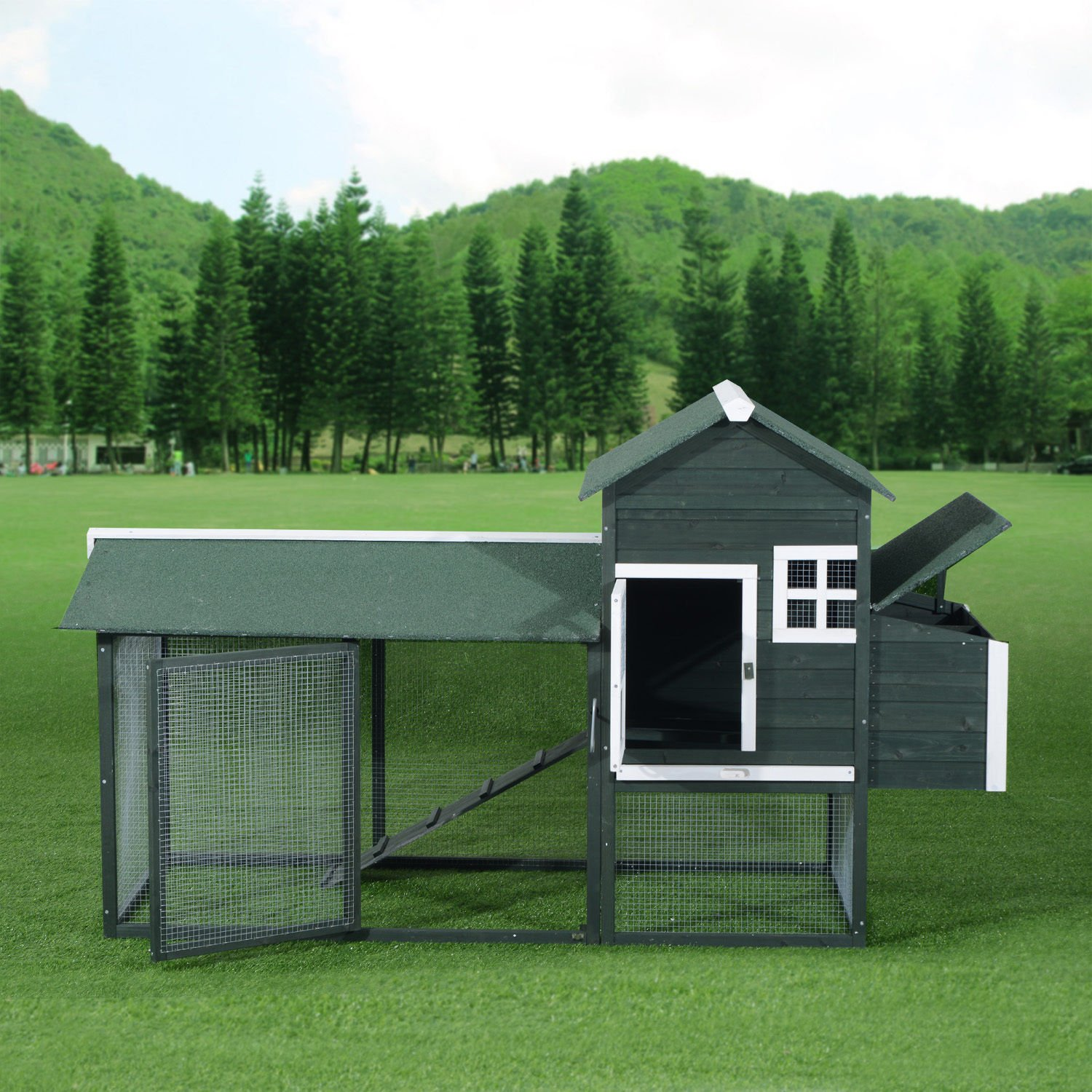 Pawhut Wooden Backyard Poultry Hen House Chicken Coop - Green by PawHut (Image #4)