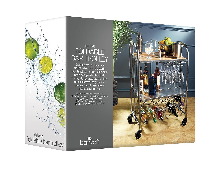 Amazon.com: Kitchen Craft BarCraft Folding Vintage-Style Home Bar Drinks Trolley, 71 x 46 x 94 cm (28