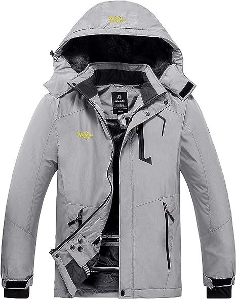 Wantdo Giacca da Sci Montagna Escursionismo Outdoor Giaccone da Snowboard Antivento Cappotto con Cappuccio Giubbotto da Neve Idrorepellente Uomo