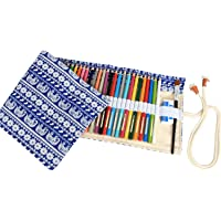 Amerzam 72 Colored Pencil Roll Up Canvas Wrap Pouch Holder (Blue) (Pencils are not Included)