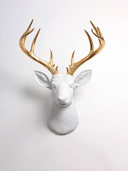 Amazon.com: XL Deer Head Wall Hanging, The XL Alfred White and Gold ...