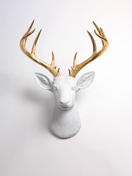 Amazon.com: XL Deer Head Wall Hanging, The XL Alfred White and ...