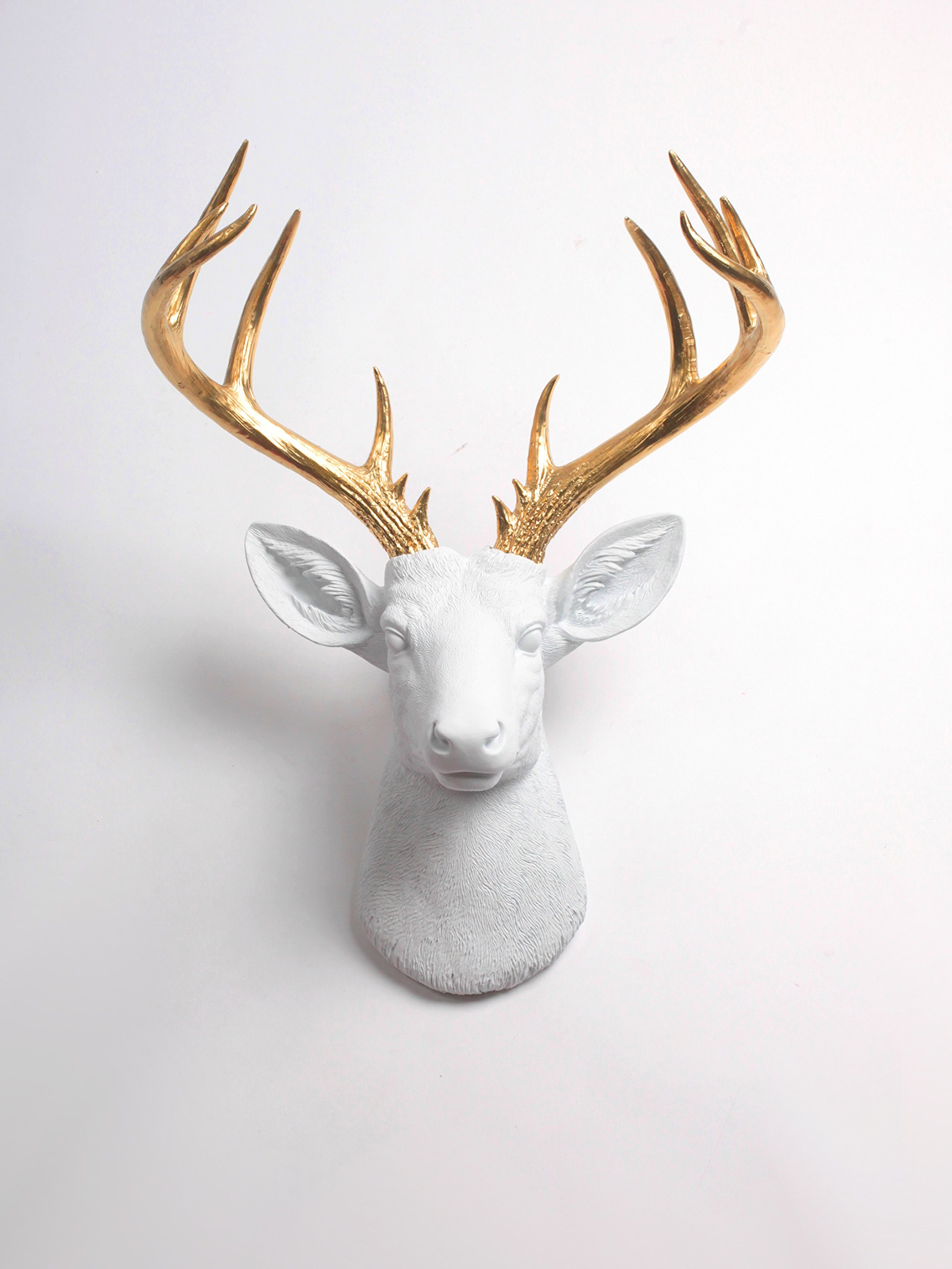 XL Deer Head Wall Hanging, The XL Alfred White and Gold Stag Decor by White faux Taxidermy Animal Heads