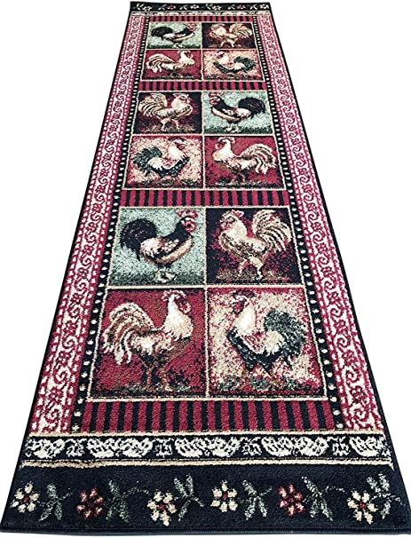 Amazon Com Country Roosters Chicken Kitchen Carpet Woven Area Rug Green Black Red 2 X 7 Runner Dining