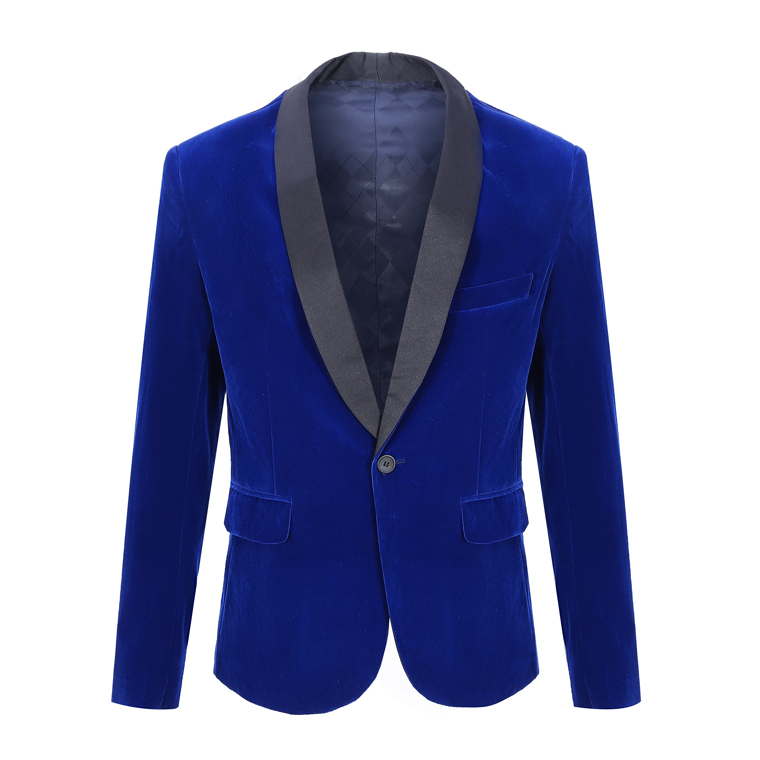 CARFFIV Mens Fashion Velvet Blazer Suit Jacket (Blue Shawl Lapel, Tag M/US 38R)