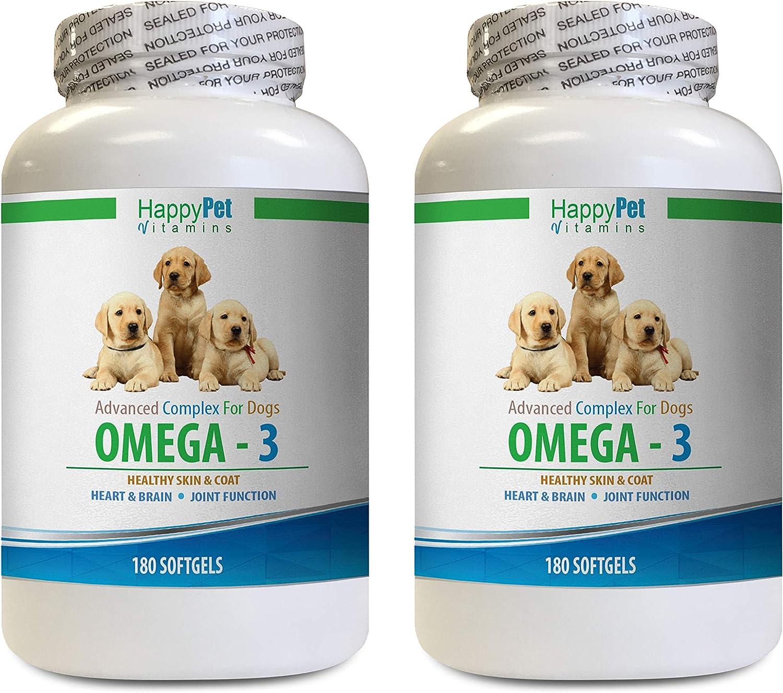 HAPPY PET VITAMINS LLC Dog Allergy Food additive - Dog Omega 3 - Healthy Skin Coat and Joints - Brain and Heart Health - Allergy Relief - Dog Omega Supplement - 2 Bottles (360 Softgels)