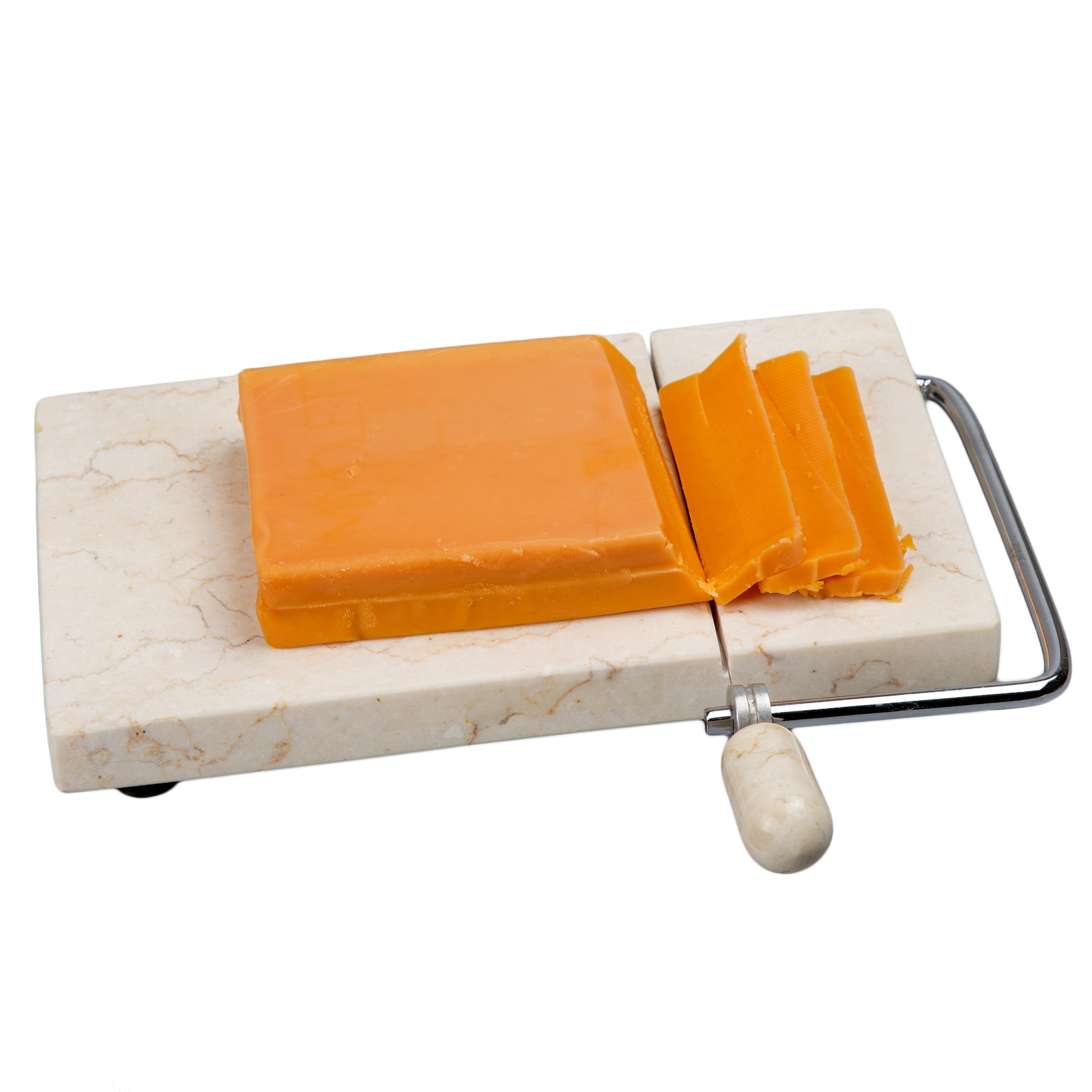 Creative Home Natural Stone Champagne Marble 5'' x 8'' Cheese Slicer, Cutter
