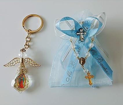 Amazon.com: 12 Organzas Azules de mi Bautizo con Recuerdos ...